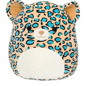 """16"""" Squishmallows Liv Teal Leopard Plush NWT"""